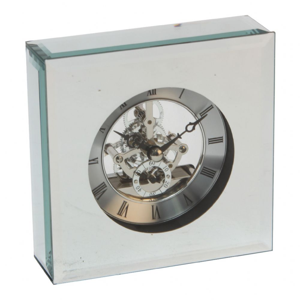 Square 12.5cm Glass Mirrored Skeleton Clock
